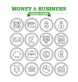 Money and business linear icons set Thin outline vector image