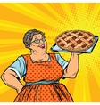 Old joyful retro woman with berry pie vector image vector image