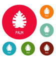 palm leaf icons circle set vector image vector image
