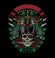 pirate skull bite a dagger with roses and guns vector image