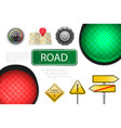 realistic road elements colorful composition vector image vector image