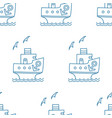 seamless pattern of blue cartoon ship with anchor vector image