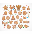 set 25 realistic gingerbread cookies isolated vector image