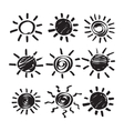 Set of Hand Drawn Symbols of Sun vector image vector image