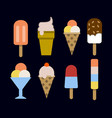 set of ice creams and popsicles isolated on black vector image vector image