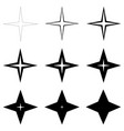 set stars with different thickness outline vector image