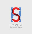 sh logo letters with blue and red gradation vector image vector image