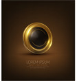 Shiny black and gold button abstract 3d element