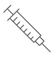 syringe thin line icon medicine and hospital vector image vector image
