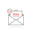 thin line 15 years anniversary logo like open vector image