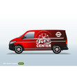 tire center red delivery van template with vector image vector image