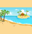 tropical island with cottage yellow sandy beach vector image vector image