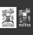 trucker emblem with skull vector image vector image