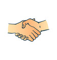 two human hands shaking symbol in sketch style vector image vector image