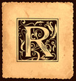 vintage initial letter r with baroque decorations vector image