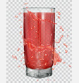 water splashes around a transparent glass vector image vector image