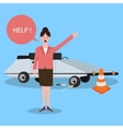 woman asking for help car trouble need someone vector image vector image
