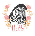 zebra portrait in a striped tie with a pink vector image vector image