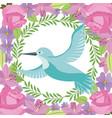 green bird flying wreath flowers decoration vector image