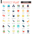 set of flat tea coffee alcohol drinks vector image