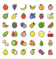 cute fruit filled outline icon set vector image