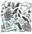 ink hand drawn elements all about vacation vector image
