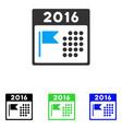 2016 holiday calendar flat icon vector image vector image