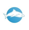 Blue flat logo shark for company business club vector image vector image