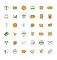 Business flat design icon set Money shopping bank vector image vector image