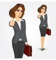 businesswoman giving thumbs up vector image vector image