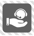 Call Center Service Rounded Square Button vector image