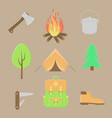 camping icons summer outdoor set vector image vector image