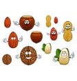 Cartoon isolated funny nuts characters vector image vector image