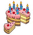 cartoon sliced birthday cake vector image vector image