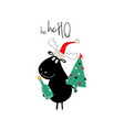 christmas card with cute moose vector image vector image