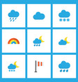 climate icons flat style set with flag frost vector image vector image