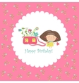 Cute girl holding bag with flowers vector image