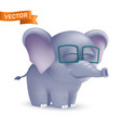 cute standing and squinting cartoon baelephant vector image vector image
