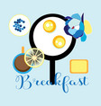 delicious fried eggs with coffee vector image