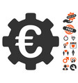 euro development gear icon with valentine bonus vector image vector image