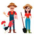 farmers man and woman cartoon characters vector image vector image