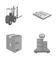 forklift delivery slips packaged goods cargo on vector image vector image