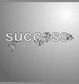 four businessmen climbing on the word success vector image