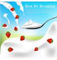 fresh strawberry milk cream swirl vector image vector image