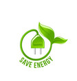 green leaf electric plug save energy icon vector image