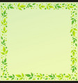green square background with frame of leaves vector image