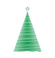 hand drawn christmas tree template for your design vector image