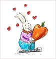 In love rabbit holding heart shaped carrot vector image