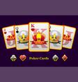 king queen and jack playing card suits with crown vector image vector image
