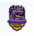 logo badge sticker dinosaur emblem and its vector image